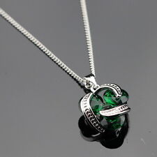 925 sterling silver Genuine Emerald Green necklace round Edwardian Style
