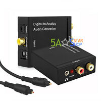 Digital Optical to Analog Audio Converter Adapter Coaxial Coax Toslink RCA R/L