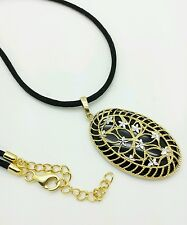 14k Yellow Gold Oval Diamond Cut Flower Filigree Black Onyx Necklace Pendant