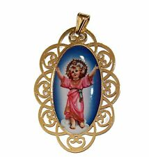 Divino Niño Jesus Medal 18k Gold Plated Medalla Enchapada Pendant with Chain