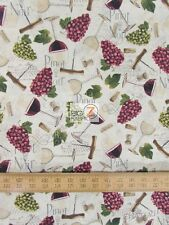 CHATEAU NOVEAU GRAPES AND WINE BY DAVID TEXTILES 100% COTTON FABRIC FH-687