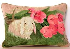 Rabbit- Floopy Eared Rabbit w/ Pink Tulips, Laurie Cook Tapestry Pillow New