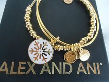 Alex and Ani SNOWFLAKE HOLIDAY SET Yellow Gold 2 Bangles New W/ Tag Card & Box