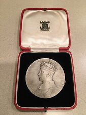 "1937 Official UK ""Large"" Silver Coronation medal - King George VI with case"