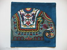 Kashmir Royal Elephant Design Embroidered Persian Blue Pillow Cover India