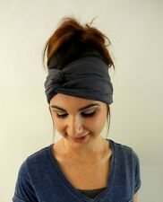 Turban HeadBand Cotton Jersey Charcoal Gray Yoga Wide Head Wrap High quality