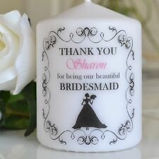 BRIDESMAID thank you gift PERSONALISED candle  card flower girl / maid of honour