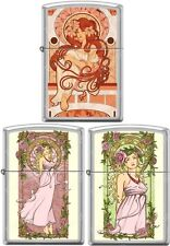 Zippo Nouveau Woman 3 lighter Set  Mucha Style Satin Chrome