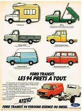 Publicité Advertising 1981 Les Camions Fourgons Bus utilitires Ford Transit