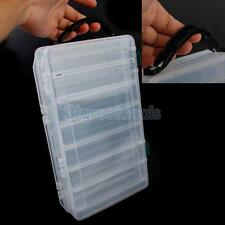 14 Compartments Plastic Fishing Lure Bait Tackle Box 2-Side Container Case