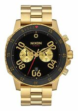 NWT Nixon A549-513-00 RANGER CHRONO 44 MM Mens Gold Black aa128