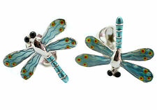Deakin and Francis Silver & Enamel Blue Dragonfly Cufflinks