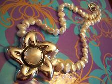 Artist Priscila Canales Pearls Sterling Flower Enhancer Pendant Pin Necklace