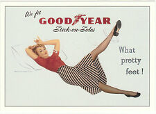 ROBERT  OPIE  ADVERTISING  POSTCARD  -  GOODYEAR  STICK-ON-SOLES