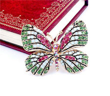 Full Filled Rhinestone Crystal Butterfly Breastpin Charm Gold Plated Brooch Pin