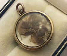 Lovely Antique Victorian 9ct Gold Hair Locket Pendant Superb