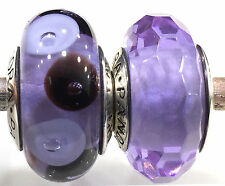 1 set 2 beads  Authentic Pandora 925 ale silver beads charm purple clear