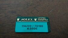 Vintage ROLEX Green Hang Tag Sello 114200 / 70190 OYSTER SWIMPRUF Showcase Tag