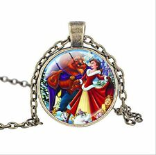 Vintage Beauty and the Beast Cabochon Glass Bronze Chain Pendant Necklace