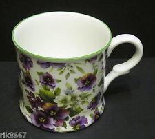 1 Pansy White English Fine Bone China Chintz Mug Cup Beaker By Milton China