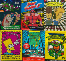 SEALED trading card packs LOT - TMNT, Ren & Stimpy, Street Fighter II, Simpsons+