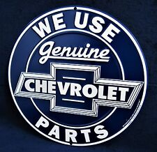 Genuine CHEVROLET Parts *US MADE* Embossed Round Metal Sign Garage Shop Man Cave