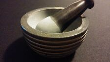 "4"" Soapstone Mortar & Pestle Zen Grey Grind & Crush Incense/Herbs/Spices ~ India"