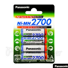 4 x Panasonic AA batteries 2700mAh Rechargeable High capacity Ni-MH Akku LR06