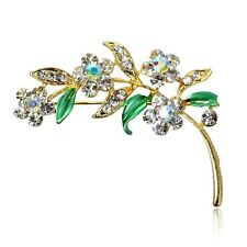 Flower Enamel And  Rhinestones Brooch Pin