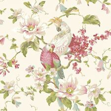 Wallpaper Designer Parrot & Cockatoo Tropical Magnolia Floral on Pearlized Cream