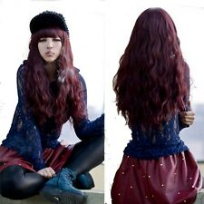 fashion long curly wavy wine red lolita hair full wig womens halloween party wig