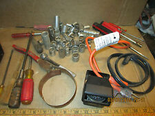 lot of vintage garage tools screwdrivers sockets car compass oil wrench etc.