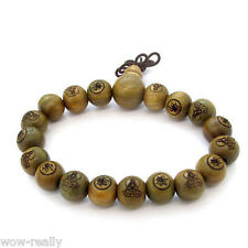 13mm Wood Kwan-Yin Beads Carved Tibet Buddhist Prayer Bless Elastic Bracelet