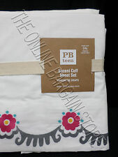 Pottery Barn Teen Suzani Embroidered Floral Girl Cuff Sheets Full Set Warm Pink