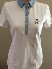 NWT Women's Tommy Hilfiger Regular Fit SS Cotton Polo Shirt  White Blue - Small