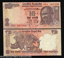 INDIA 10 RUPEES 2013 GANDHI *NEW SYMBOL* TIGER RHINOCEROS DSR UNC WORLD CURRENCY
