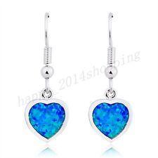 Synthetic Blue Opal Heart Shaped Drop / Dangle Earrings Silver Plated For Womens