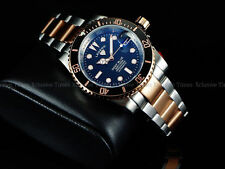 Legend Mens Submariner Deep Blue Diver Auto Sapphitek BLK Dial 18KRG IP SS Watch
