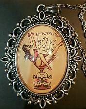 Martini Pin Up Girl & Collar Colgante Plata Cráneo * Tatuaje * Sailor Jerry * 1950s