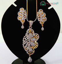 Exclusive American Diamond Pendant set,Gold plated CZ pendant set,Jewelry-ADP10