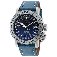 Glycine Men's 3918.18 LB8B Airman 18 GMT Automatic Blue Dial Blue Leather Watch