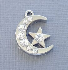 3pcs Pendant Moon Star Charm Dangle Crystal Silver tone Jewelry findings DIY c28