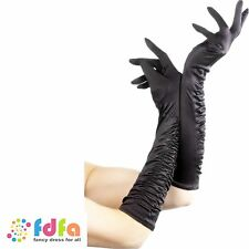 BLACK LONG SILK TEMPTRESS GLOVES - ladies womens fancy dress costume