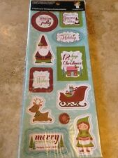 Imaginisce Christmas Cottage Holiday Chipboard Stickers Sleigh Reindeer Gnome