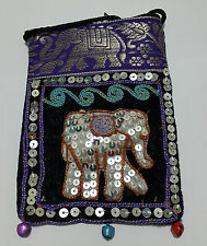 Elephant Bags Thai Handmade Cotton Mobile Phone Strap Bags Crafts Purses Violet
