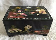 Vtg Crestline Japan Asian Lacquer Inlaid MOP Hand Painted Musical Jewelry Box