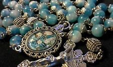 GORGEOUS DAINTY BLUE/WHITE  NATURAL STONE ROSARY MADE WITH 8MM PERSIAN JADE