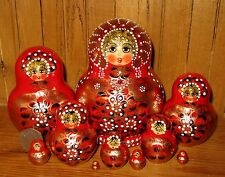 Russian stacking nesting doll 10 RED GOLD Babushka signed AYMASOVA matryoshka