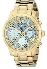 Guess Womens U0330L13 Stainless Steel Gold-Tone Multi-Function Watch Blue Python