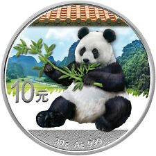 30g China Panda 10 Yuan Silber Red Roof Farbe - Color BU 2017